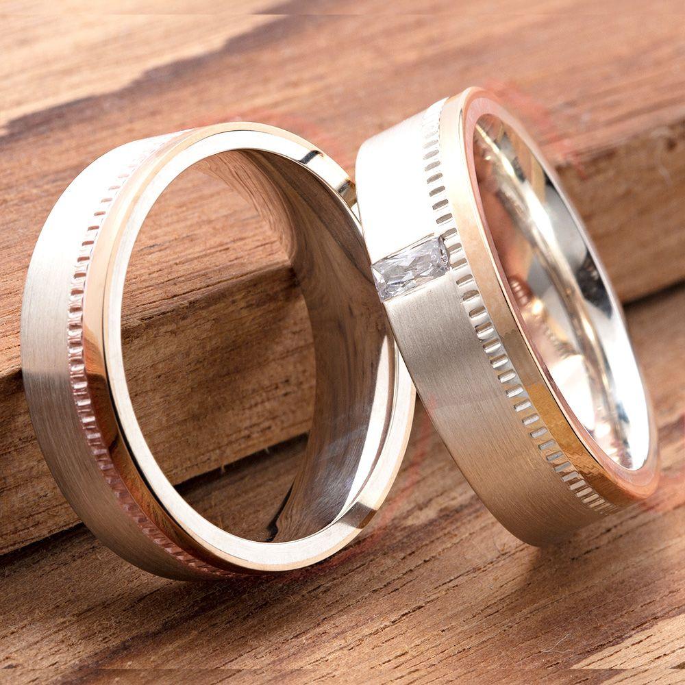 imagem do produto Alianças de Prata com Ouro Rosê 10k Cód. 6208