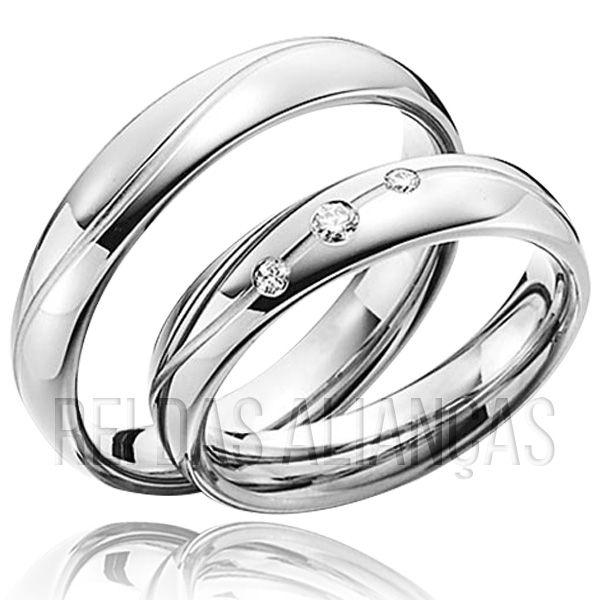imagem do produto Par Alianças Ouro Branco 3 Diamantes na Feminina Cód. 273