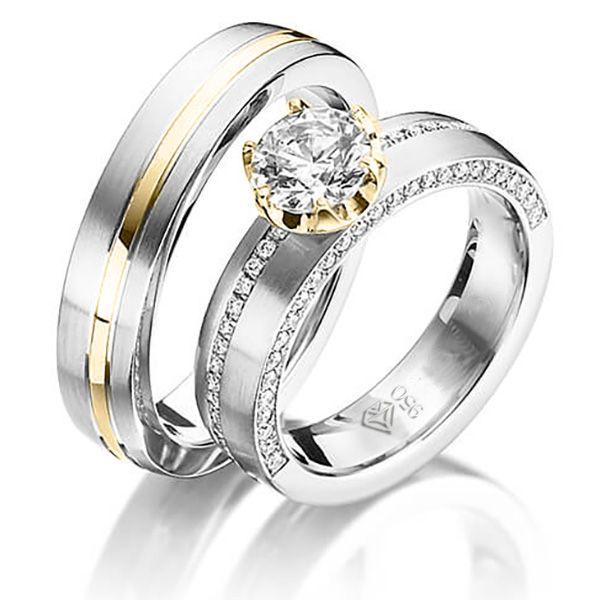 imagem do produto Alianças de prata com ouro 18K e diamantes híbridos na feminina Cód. 6226