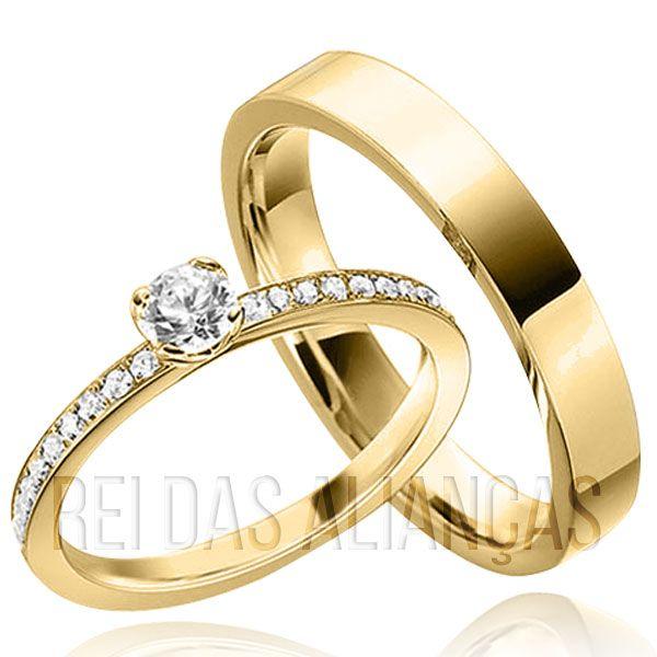 imagem do produto Alianças de Ouro Personalizadas com Diamantes na Feminina Cód. 565