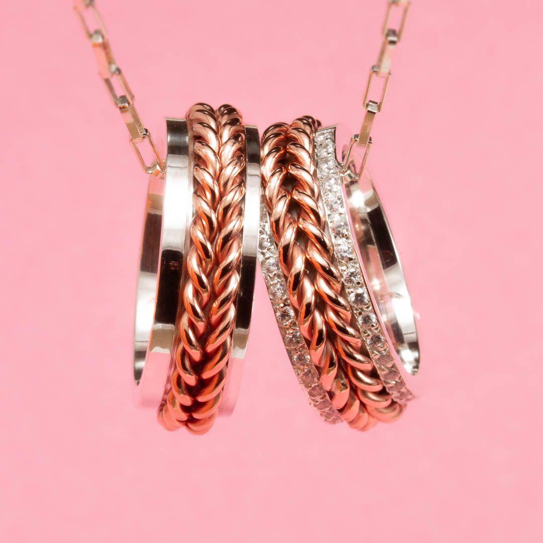 imagem do produto Aliança de prata com corrente central em ouro rosé cod.8589