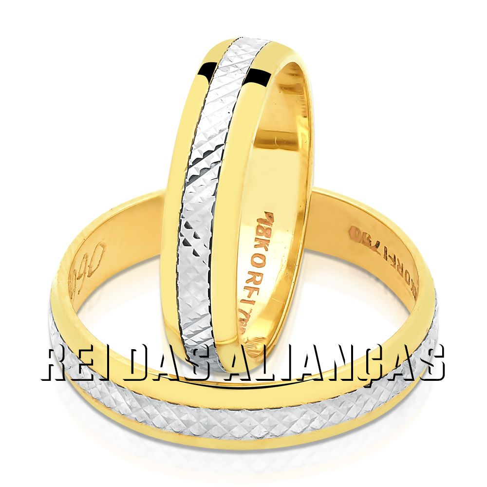 imagem do produto Alianças Ouro Amarelo Diamantado no Branco Cód. 088