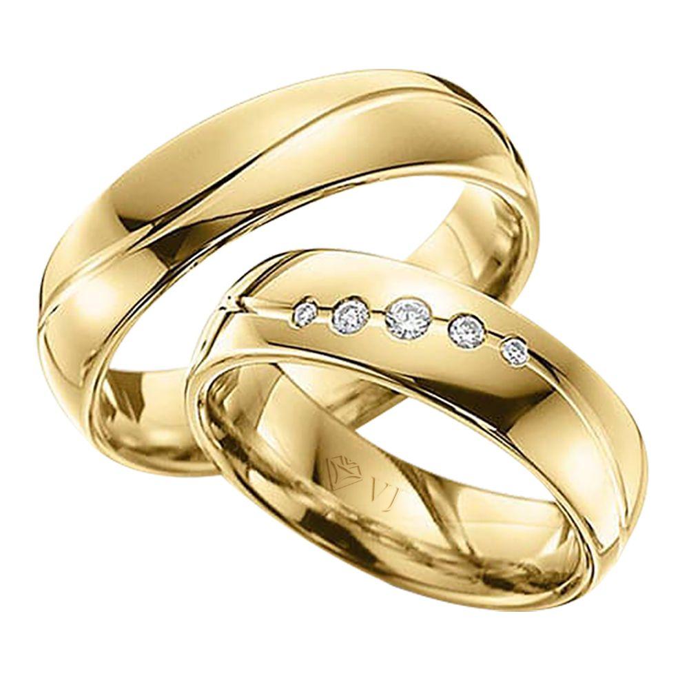 imagem do produto Alianças de Ouro com friso em onda e diamantes Cód. 429