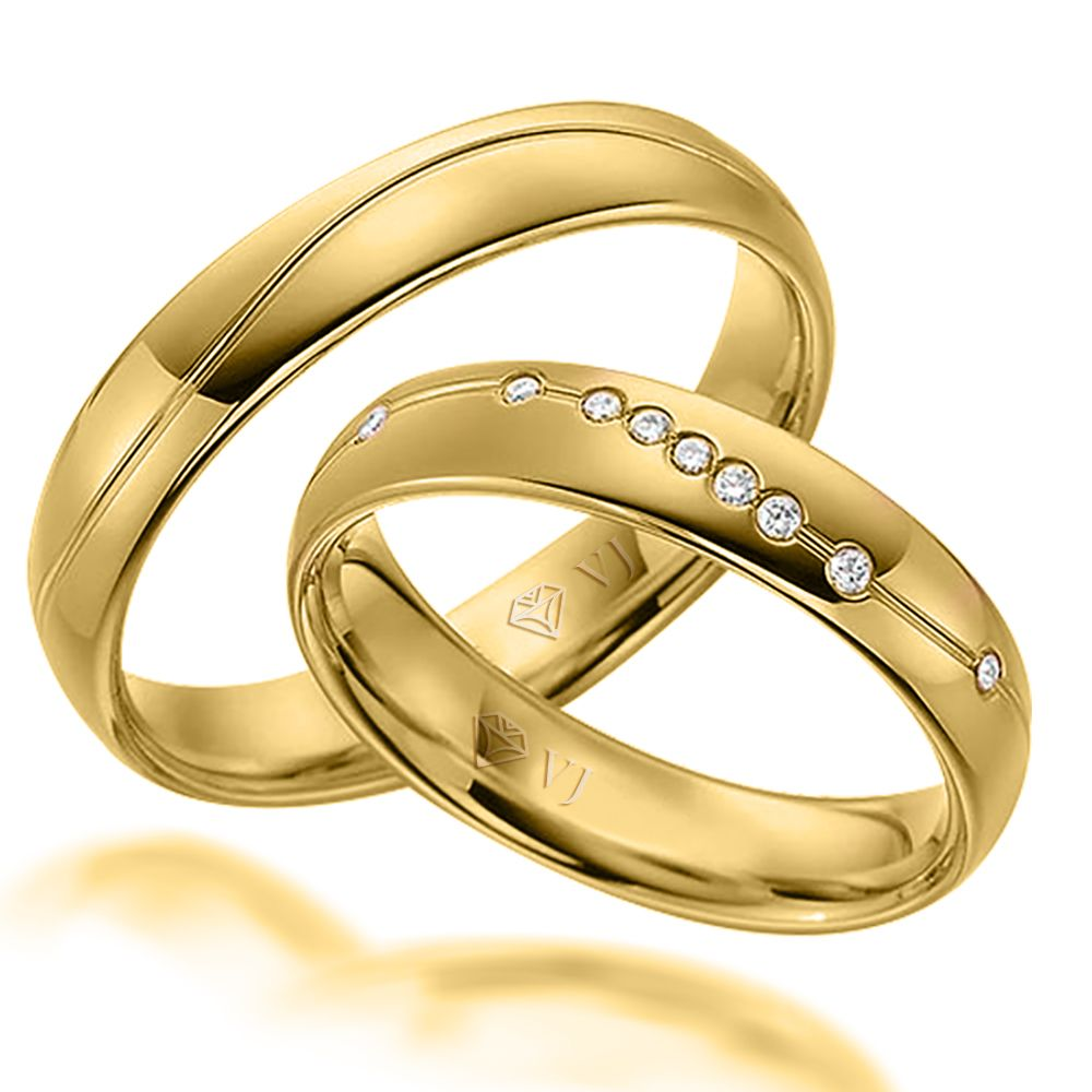 imagem do produto Alianças de ouro 10k com 9 diamantes na feminina Cód. 453