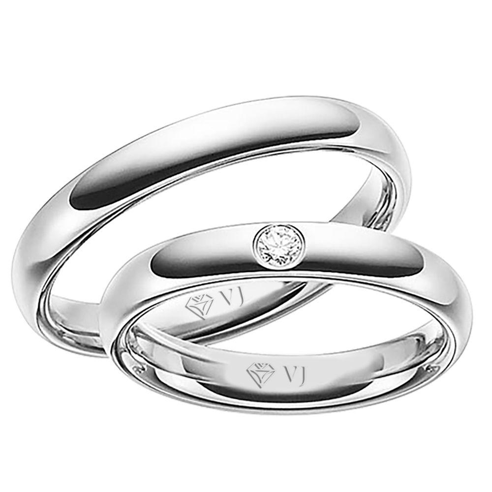 imagem do produto Par de Alianças Ouro Branco Design Maravilhoso Cód. 259