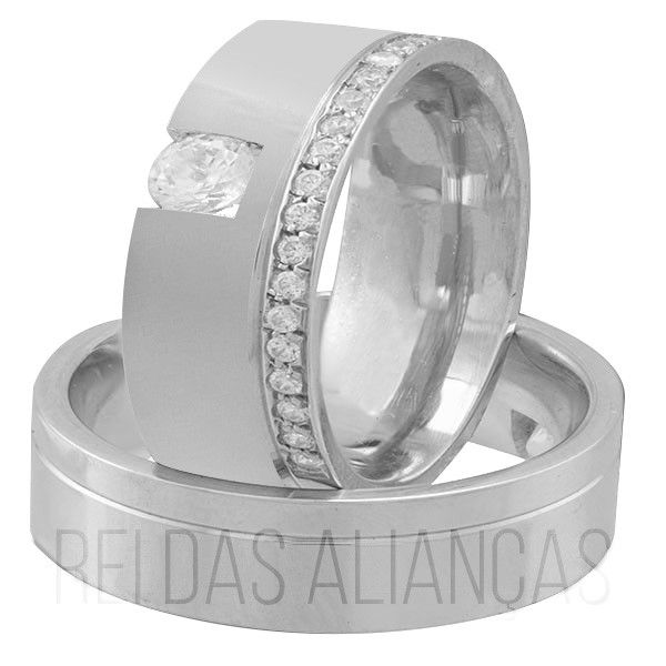imagem do produto Alianças de Prata com Pedras Personalizada Cód 8589