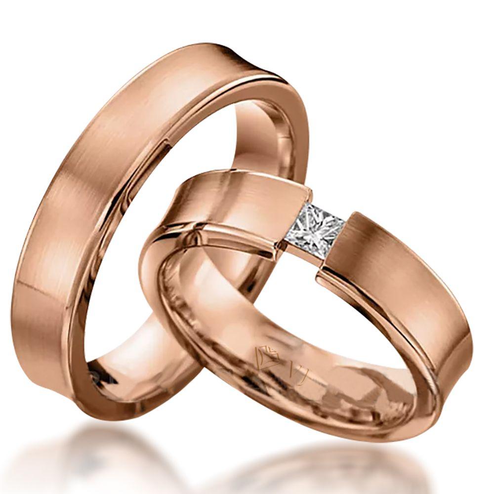 imagem do produto Alianças Ouro Rosê Diamante Carrê na Feminina Cód. 726