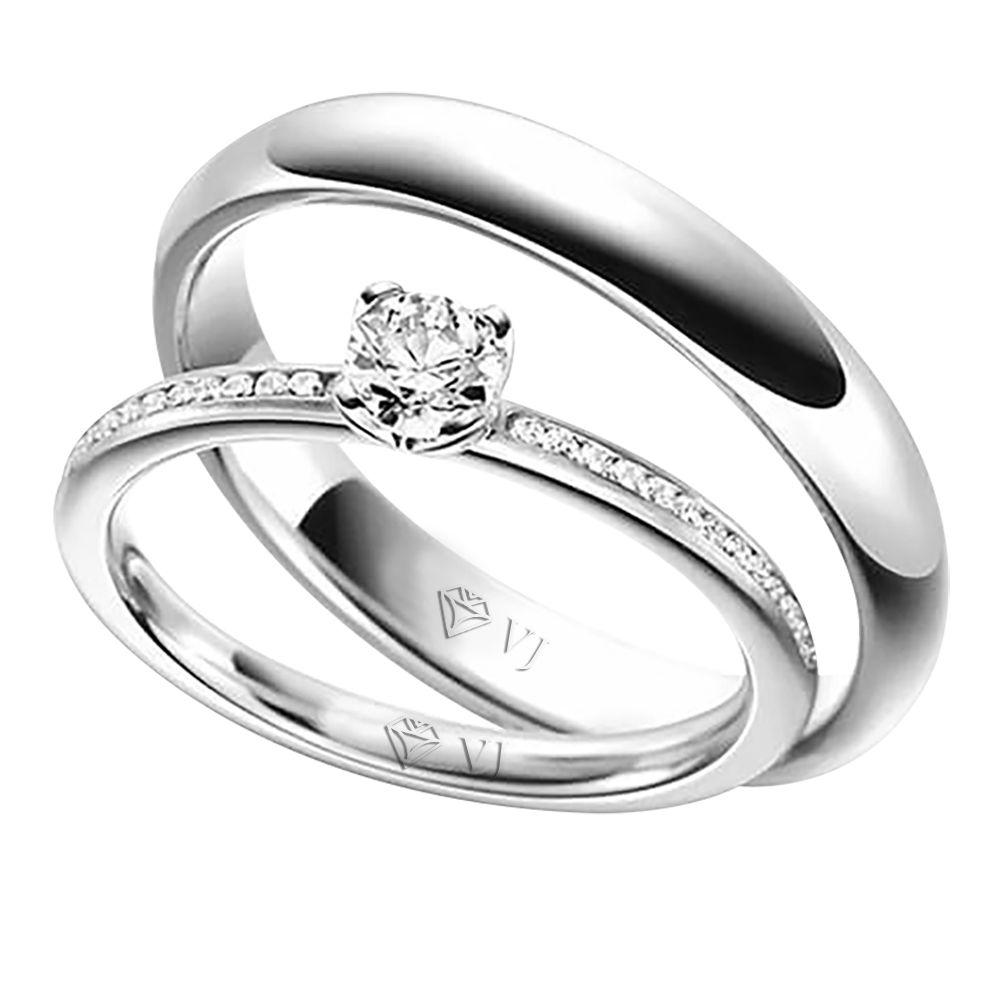 imagem do produto Alianças em Ouro Branco Exclusivas diamantes na feminina Cód. 883