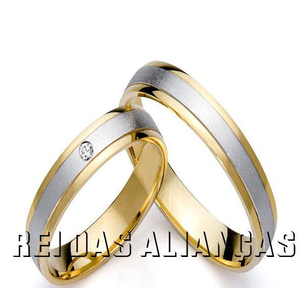 imagem do produto Alianças de Noivado, Casamento Duas Cores Cód. 278