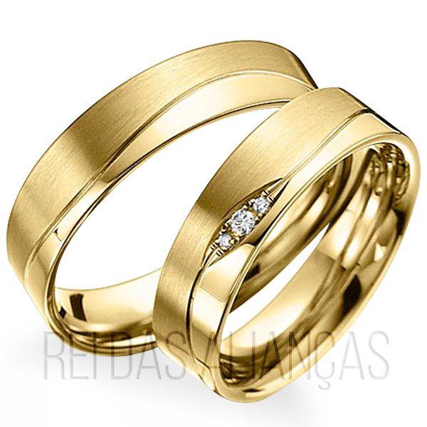 imagem do produto Alianças de Ouro Design Exclusivo diamantes na feminina Cód. 462