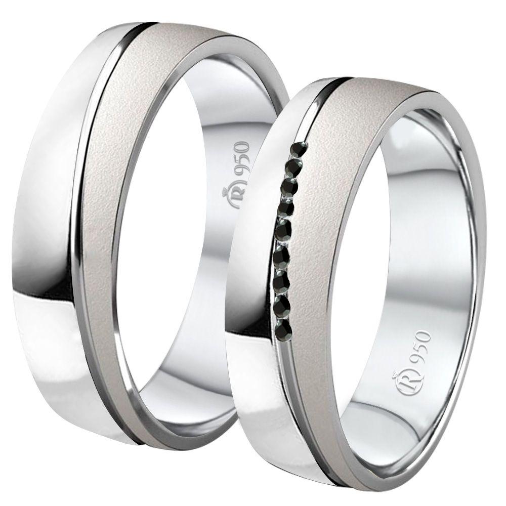 imagem do produto Alianças compromisso de prata fosca e polida com pedras Pretas
