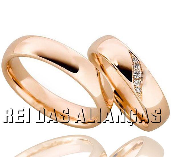 imagem do produto Alianças em Ouro Rosê com detalhe nos diamantes Cód. 354