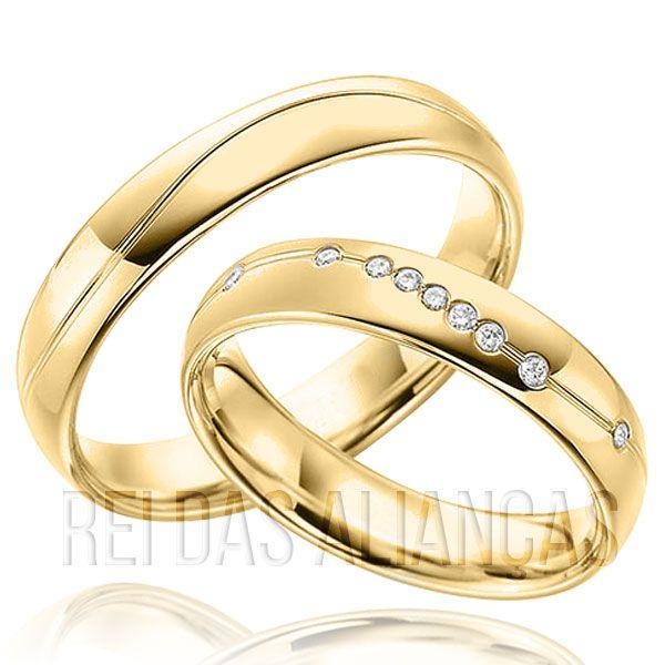 imagem do produto Alianças de ouro 18k com 9 diamantes na feminina Cód. 453