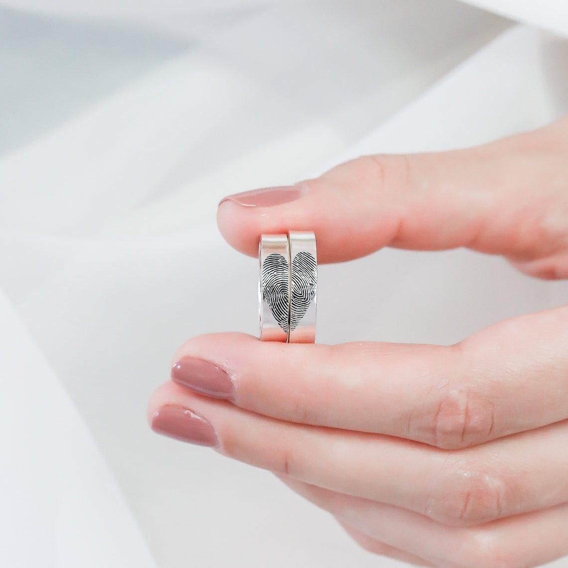 imagem do produto Aliança com impressão digital de prata cod.8727