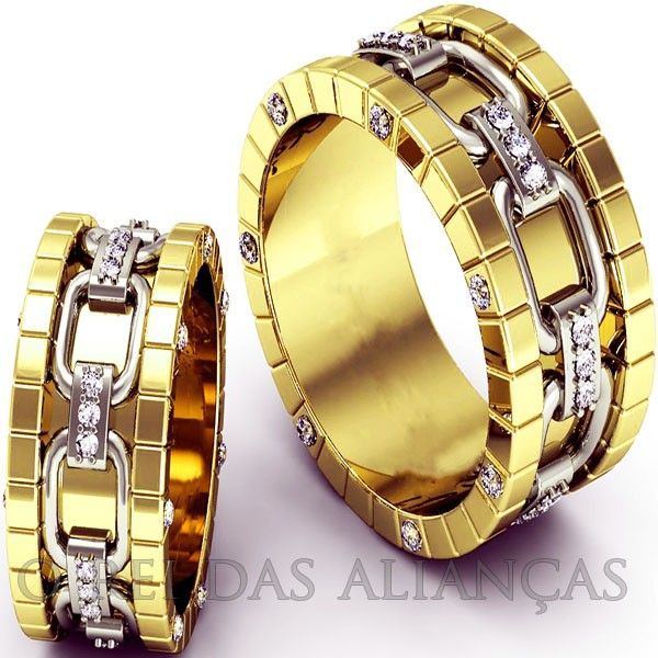 imagem do produto Alianças de Ouro Design Top Super Luxo Cód. 125