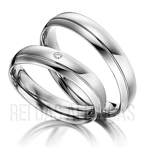imagem do produto Alianças de Casamento e Noivado Ouro Branco Cód. 213