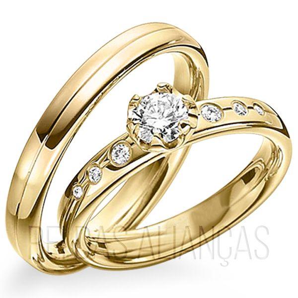 imagem do produto Alianças de Ouro Luxo Extremo com diamantes na feminina Cód. 469