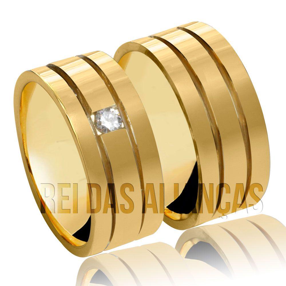 imagem do produto Alianças Brooklin, diamante de 10 pontos Cód. 717