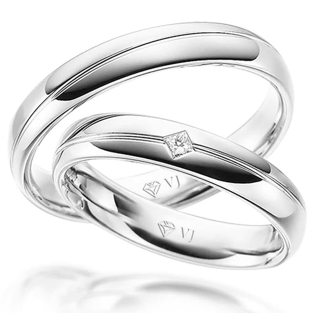 imagem do produto Alianças Ouro Branco 10k Design Luxuoso Cód. 227
