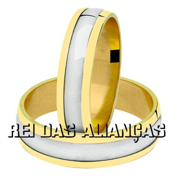 imagem do produto Alianças Ouro Amarelo e Branco Cód.147
