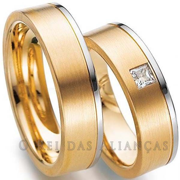 imagem do produto Alianças Bicolor Diamante Carrê na Feminina Cód. 386