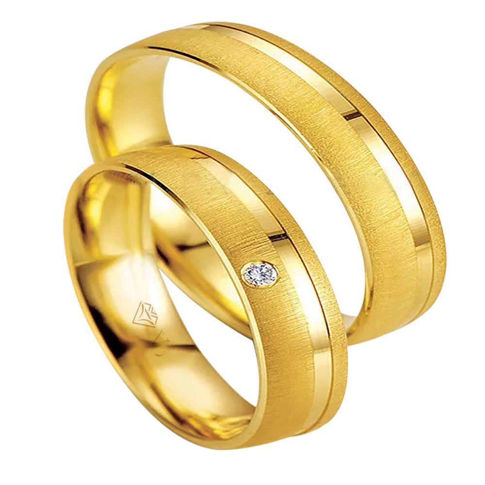 imagem do produto Alianças de Ouro 10k com Diamante na Feminina Cód. 329