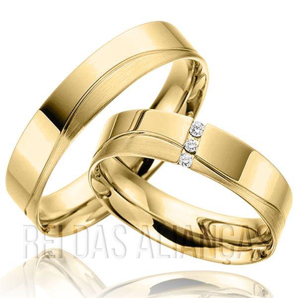 imagem do produto Alianças Ouro Com Diamantes na Feminina Cód. 112