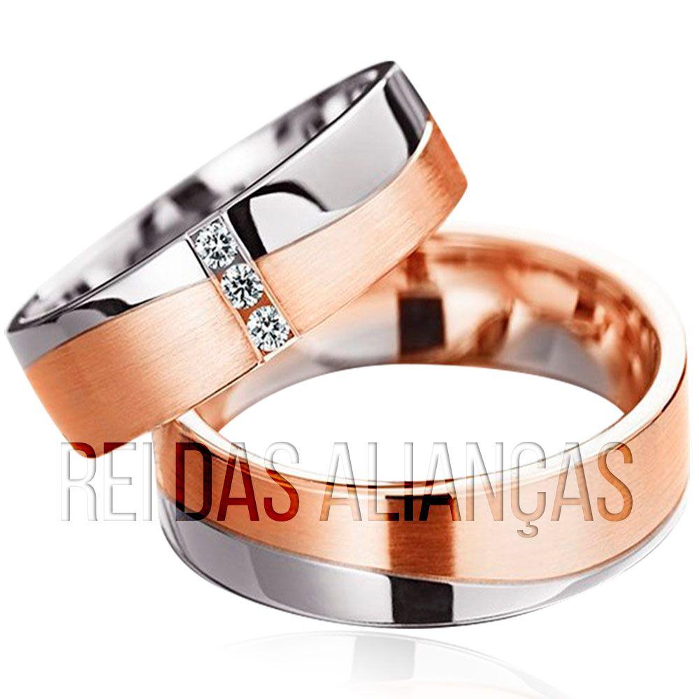 imagem do produto Alianças de ouro branco e rosê com diamantes na feminina Cód. 391