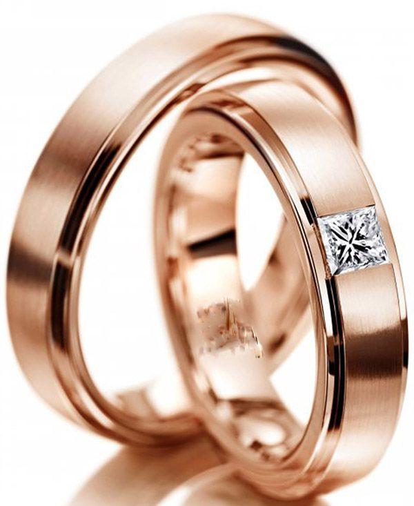 imagem do produto Alianças de Ouro Rosê Nobre Diamante na feminina Cód. 243