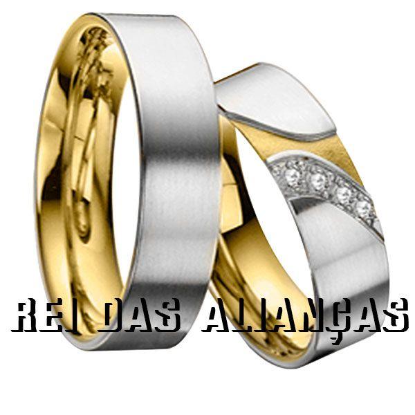 imagem do produto Alianças de Duas Cores Luxuosas Cód. 080