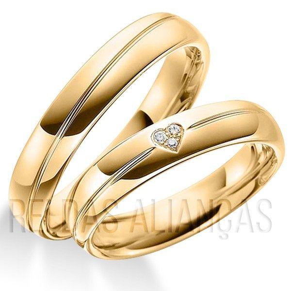 imagem do produto Alianças de Ouro Noivado, Casamento 3 Diamantes na Feminina Cód. 797
