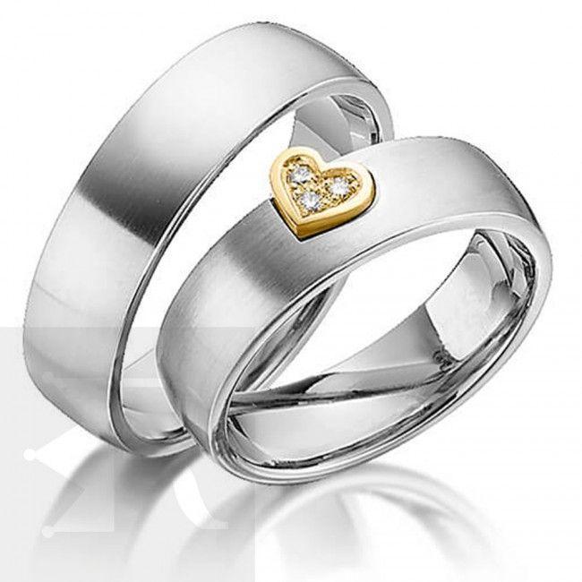 imagem do produto Alianças Prata com coração na borda em ouro 18k Personalizada Cód. 6222
