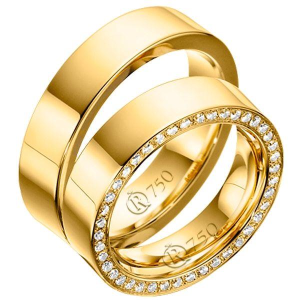 imagem do produto Alianças de Ouro 18k com 40 diamantes na feminina Cód. 693