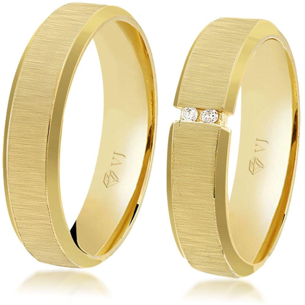 imagem do produto Alianças de Ouro com diamantes na feminina Cód. 163