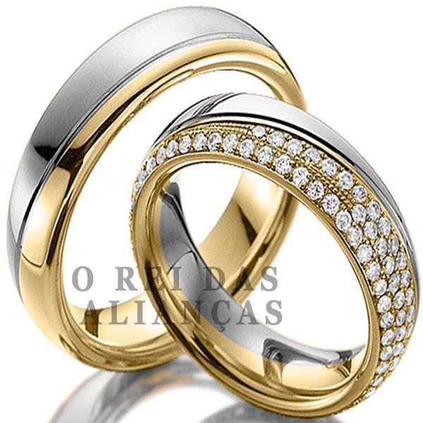 imagem do produto Alianças de Casamento Top com diamantes na feminina Cód. 655
