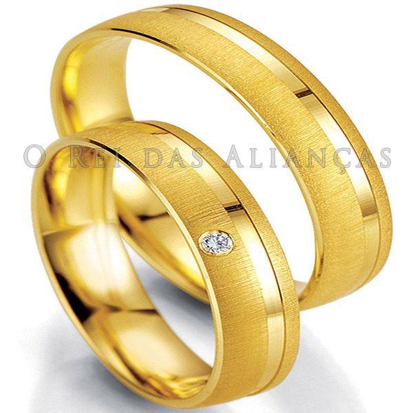imagem do produto Alianças de Ouro 18k com Diamante na Feminina Cód. 329