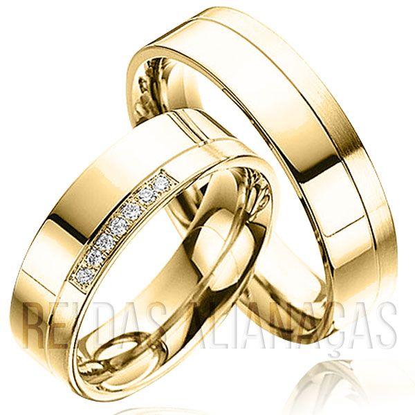 imagem do produto Alianças de Ouro Maravilhosas com Diamantes na Feminina Cód. 128