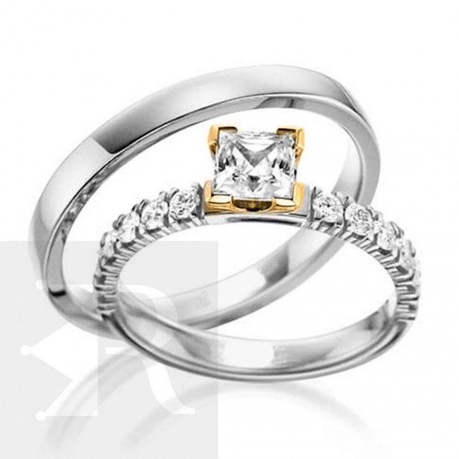 imagem do produto Alianças Prata Maravilhosa Pedra Carrê na feminina - Cód. 6232
