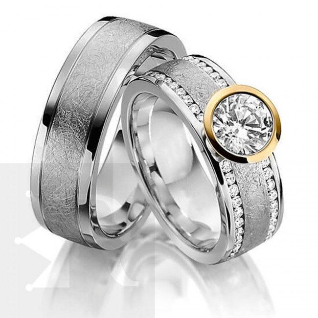 imagem do produto Alianças Compromisso ou Noivado em prata com Virola em Ouro na pedra central Cód. 6233