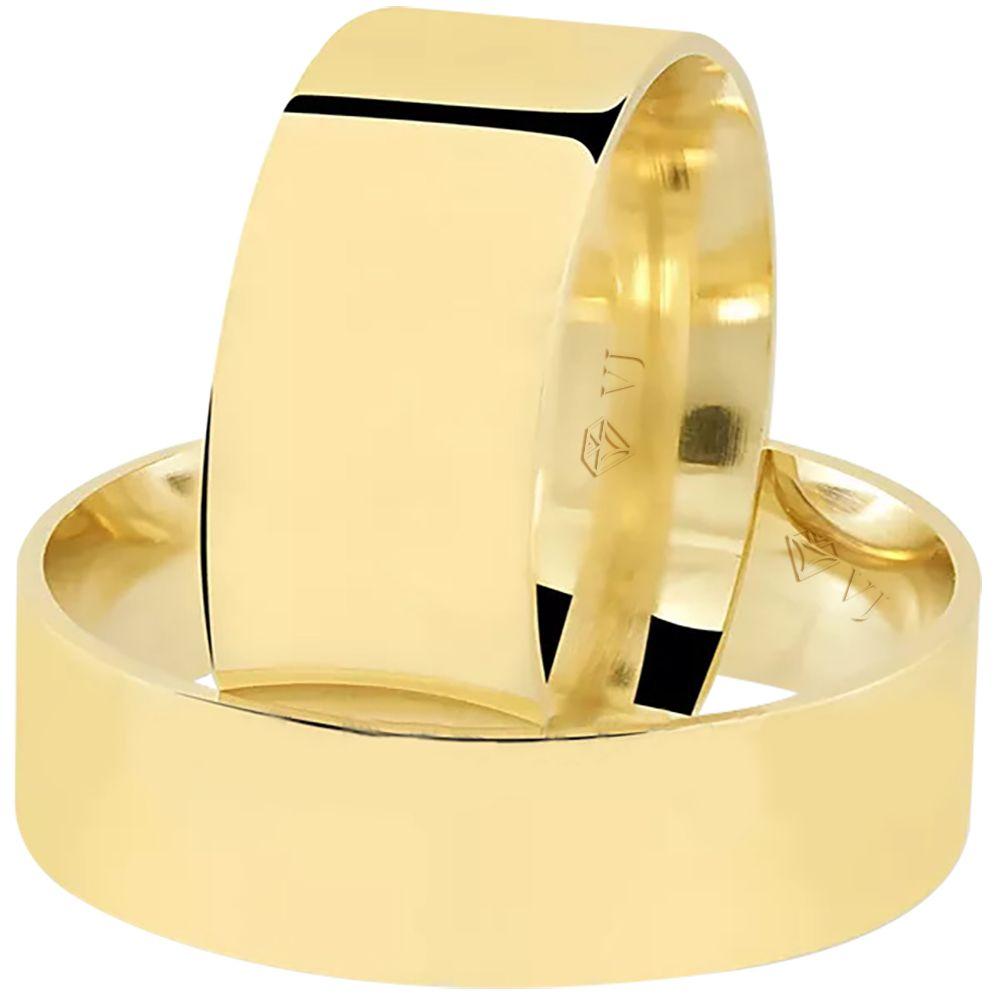 imagem do produto Par Alianças de Ouro Chapa Reta Cód. 879