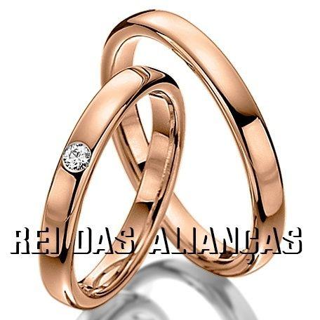 imagem do produto Alianças em Ouro 18k Rosê com diamante na Feminina Cód. 642