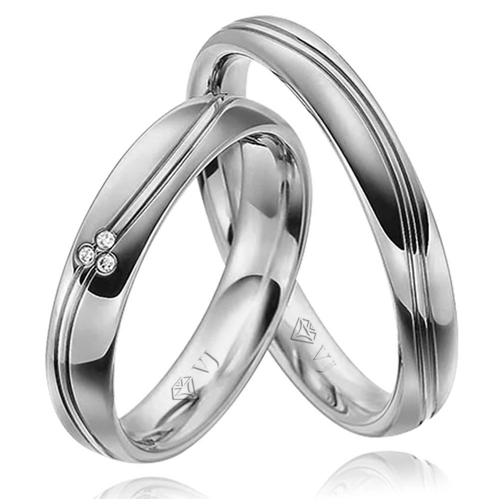 imagem do produto Alianças Ouro Branco Diamantes na Feminina Cód. 123