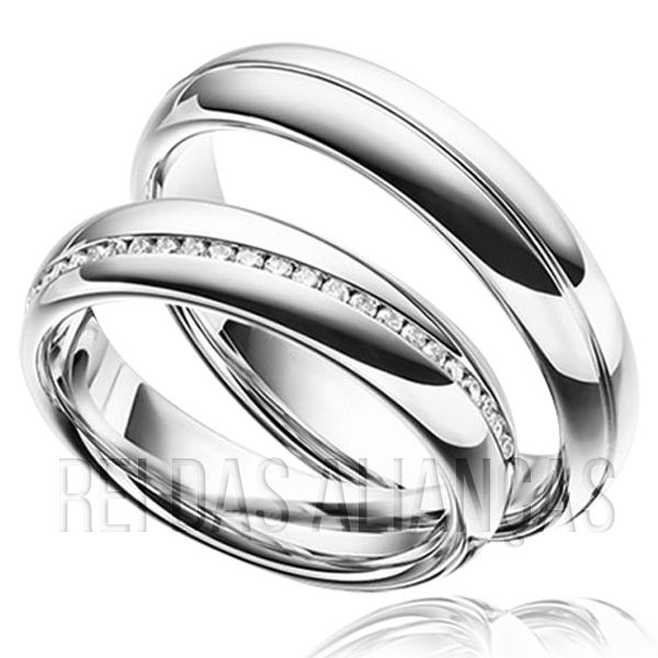 imagem do produto Alianças em Ouro Branco Super Luxo Cód. 648