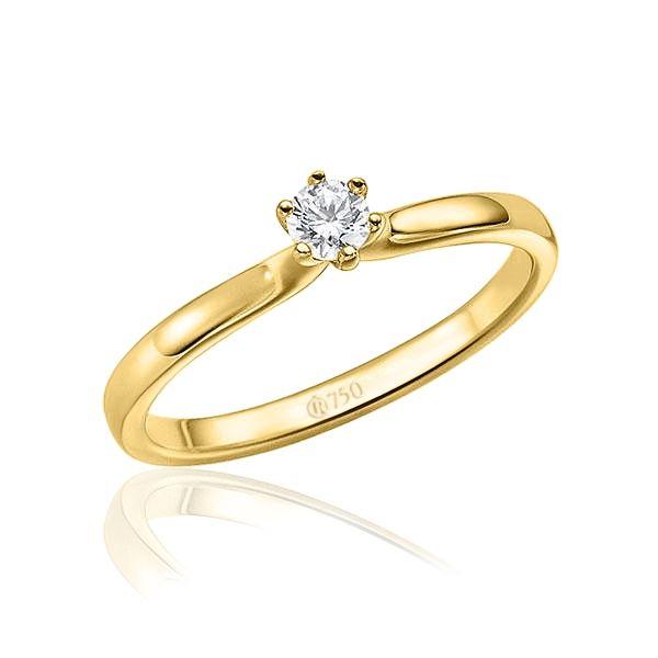 imagem do produto Anel de Ouro Noivado Casamento Solitario Cód. 595