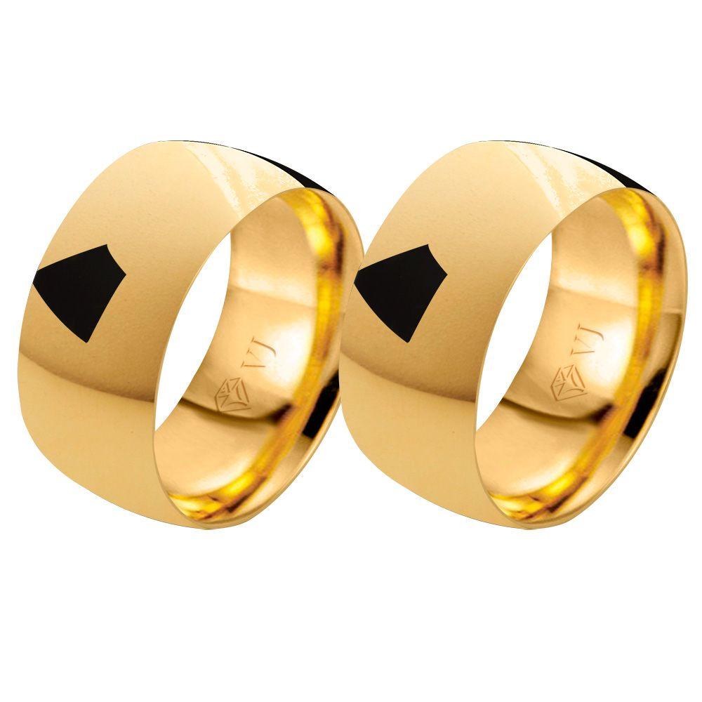 imagem do produto Alianças de Casamento e Noivado Grossas Ouro - 10mm de Largura
