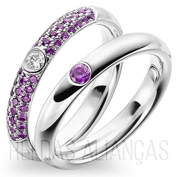 imagem do produto Alianças de Namoro Stone Color Alto Estilo Cód. 8741