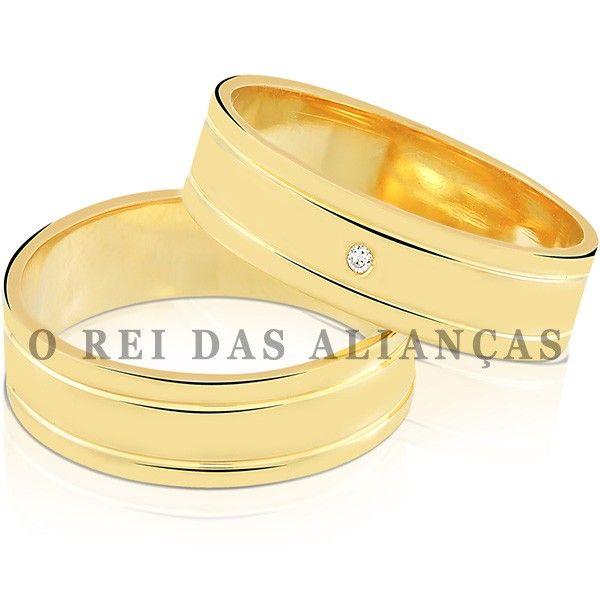 imagem do produto Alianças de Ouro Quadradas Casamento ou Noivado Cód. 795