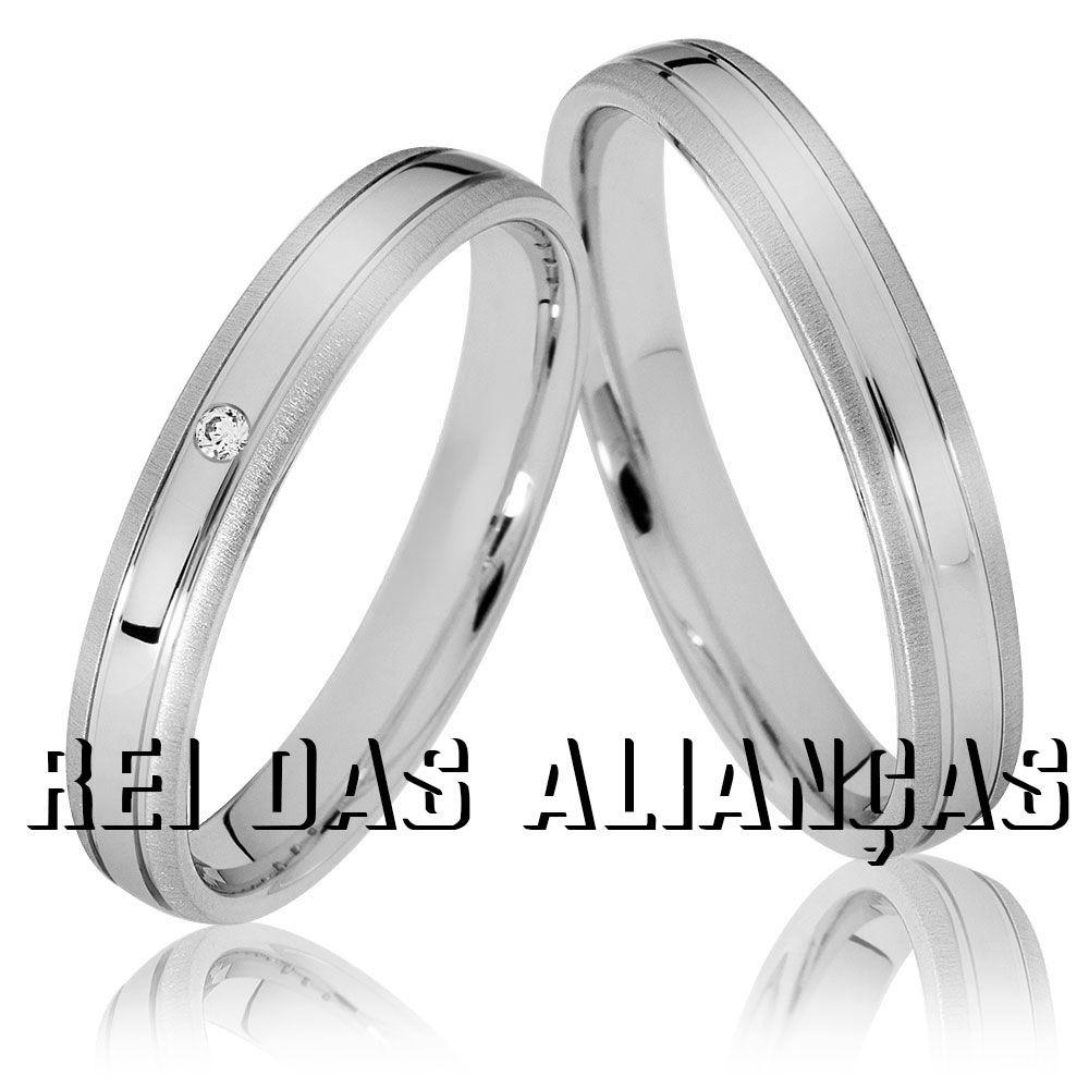 imagem do produto Alianças com Ouro Branco diamante de 1,5 pts. na feminina Cód. 279