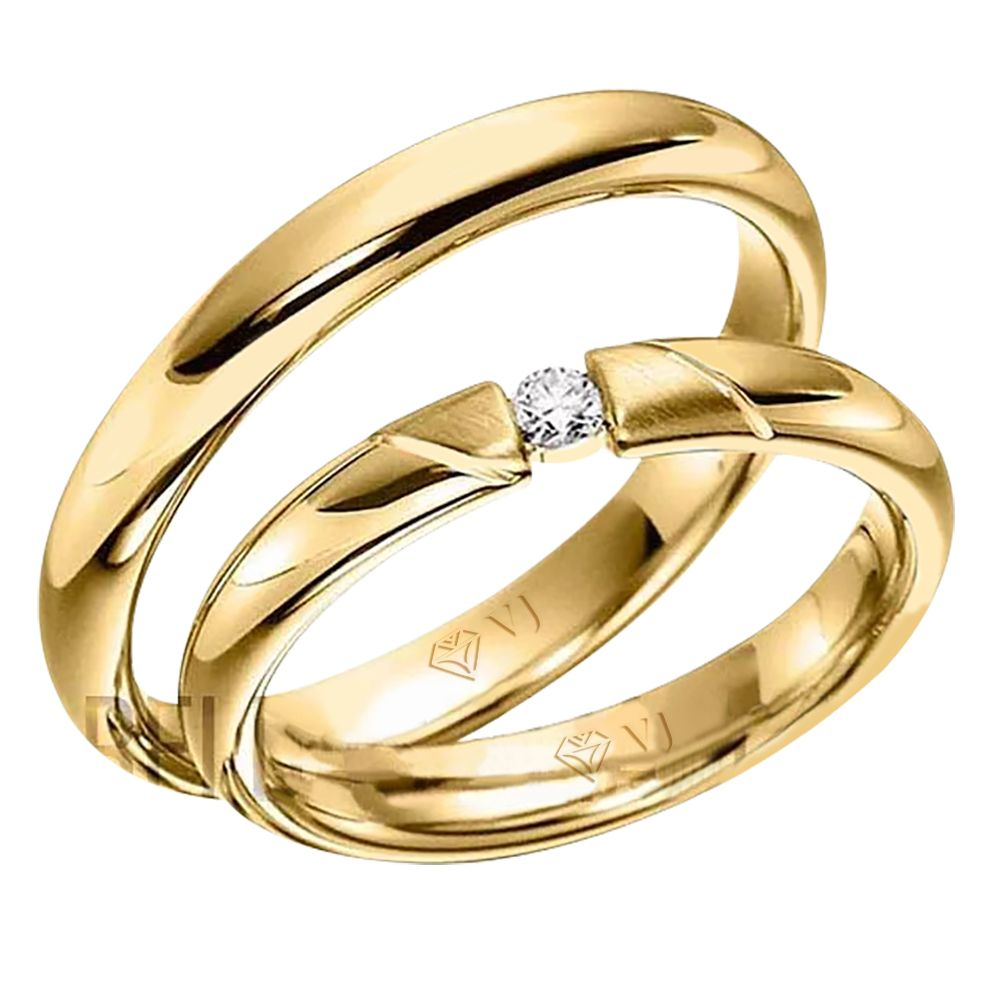 imagem do produto Modelo de Alianças com diamante na feminina Cód. 411