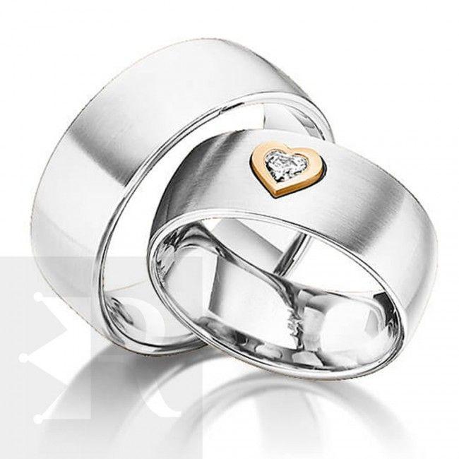 imagem do produto  Modelo de Alianças Prata com coração de Ouro 18k Cód. 6219